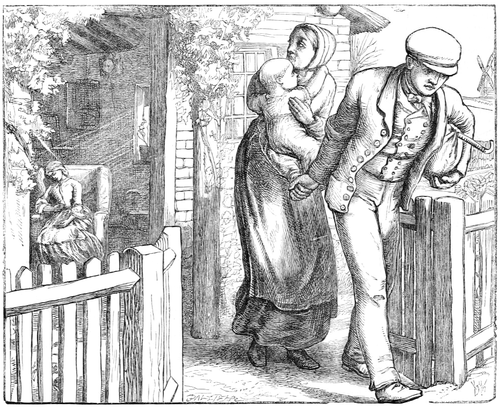alt = A man with a bundle under his arm walks away from a cottage where a woman is sitting, while another woman, holding a baby, attempts to retain him.