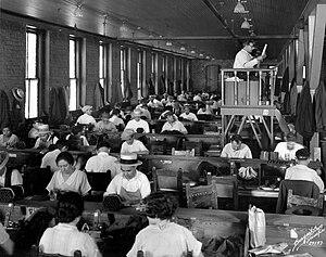 Tampa cigar makers' strike of 1931 - Lector reading at Cuesta-Rey Cigar Company, Tampa, 1929