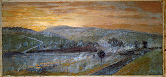 Retreat from Gettysburg - Escape of the Army of Virginia, commanded by General Lee, over the Potomac River near Williamsport, painting by Edwin Forbes