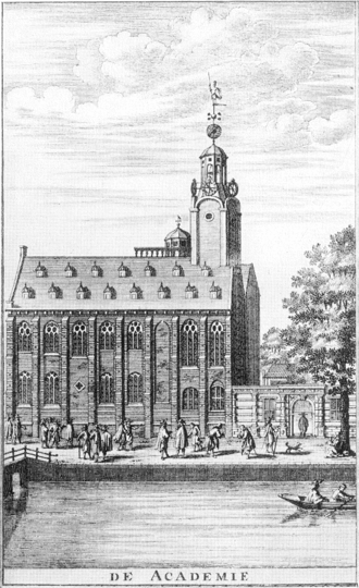 Leiden Observatory - Drawing of Leiden Observatory in 1670, seen on top of the university building.