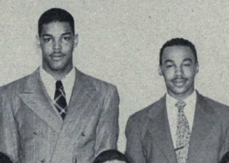 Len Ford - Ford (at left) and Bob Mann of Omega Psi Phi both went on to play in the NFL.