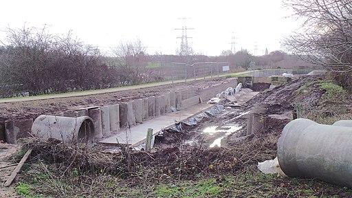 Lichfield Canal being restored at Borrowcop Locks in Lichfield, Dec2016