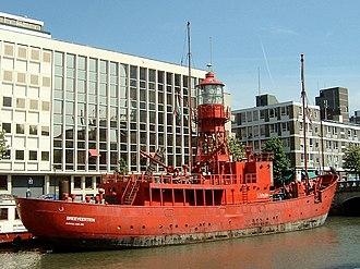 Lightvessel - LV-11 (originally British lightship Trinity House) is docked in Rotterdam, Netherlands, as Breeveertien serving as a restaurant