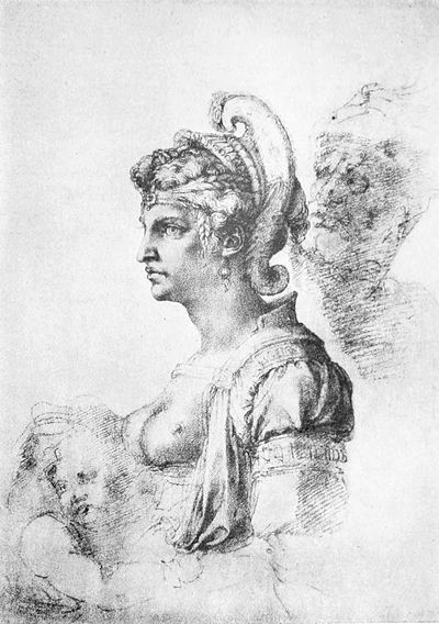 Life of Michael Angelo, 1912 - Young Woman Wearing a Helmet.jpg