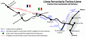 Turin–Lyon high-speed railway - Map of the Italian and international route of the new line (red and blue) compared to the traditional one (black)