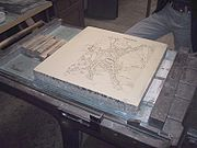 Litography press with map of Moosburg 01