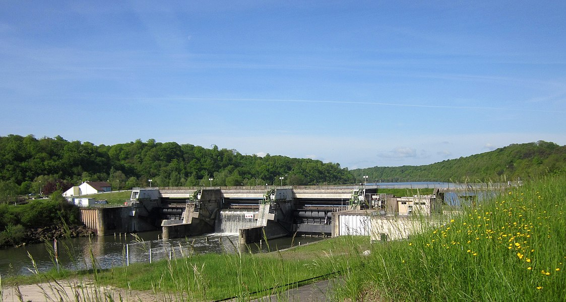 Liverdun, France. Hydroelectric power dam in the Moselle.