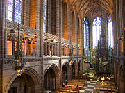 The Lady Chapel was the first part of the cathedral to be completed. It is noticeably more elaborate than the rest of the cathedral and retains features of Scott's original Gothic design, whilst also showing the influence of George Frederick Bodley.