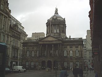 Rate-capping rebellion - Liverpool Town Hall, headquarters of the city council and focus for some of the public campaigns it led over government grants.