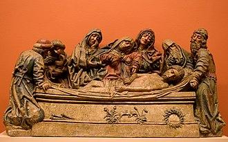 """Sevillian school of sculpture - Llanto sobre Cristo Muerto (""""Lament Over the Dead Christ""""), by Pedro Millán, Museum of Fine Arts of Seville."""