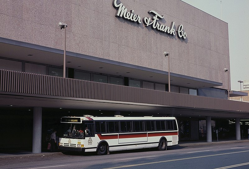 File:Lloyd Center Meier & Frank with TriMet Flxible bus, 1988.jpg