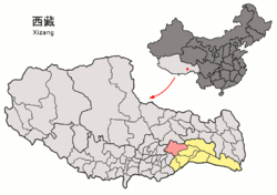 Location of Gongbo'gyamda County (red) in Nyingchi City (yellow) and the Tibet Autonomous Region