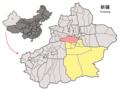 Location of Hejing within Xinjiang (China).png