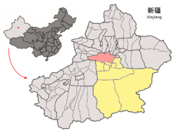 Location of Hejing within Xinjiang (China).png