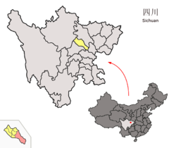 Location of the county (in pink) within Deyang (yellow) and Sichuan.