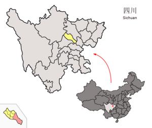 Zhongjiang County - Image: Location of Zhongjiang within Sichuan (China)