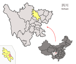Location of Zitong County (red) within Mianyang City (yellow) and Sichuan