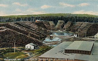 Millinocket, Maine - Log pile in Millinocket (1908).