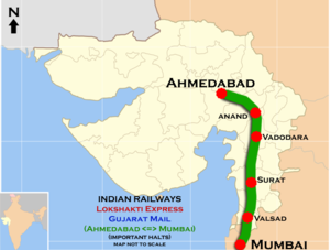 Lokshakti Express and Gujarat Mail (Mumbai - Ahmadabad) Route map.png