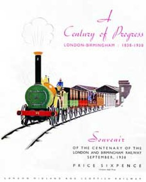 Edward Bury - London and Birmingham Railway Centenary, 1938 souvenir from the LMS illustrating the 2-2-0 locomotive of Edward Bury