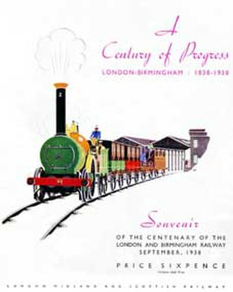 Edward Bury - London and Birmingham Railway Centenary, 1938 souvenir from the LMS illustrating the 2-2-0 locomotive of Edward Bury