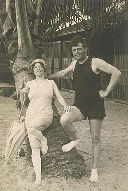 Jack and Charmian London (c. 1915) at Waikiki Londons surfing in hawaii.jpg