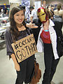 Long Beach Comic & Horror Con 2011 - Occupy Gotham protester and Iron Man girl (6301171665).jpg