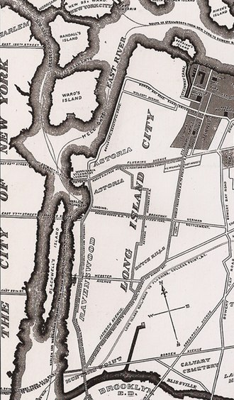 Randalls and Wards Islands - Detail of an 1896 map of Long Island City from the Greater Astoria Historical Society; Randalls and Wards Islands are at top