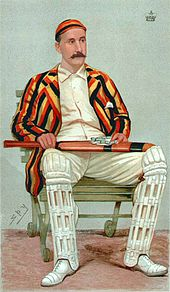 Painting of a cricketer.