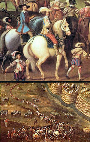 Siege of Privas - Louis XIII at the Siege of Privas. Siège de Privas, by Nicolas Prévost, 1640 (detail). Château de Richelieu.