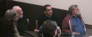 Peter Kuper - Al Jaffee, Peter Kuper, and Sam Viviano, and Paul Levitz at a panel at Columbia University in early 2014