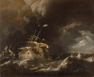 Ludolf Bakhuizen - Image: Ludolf Bakhuizen Dutch Merchant Ships in a Storm Google Art Project