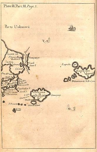 Glubbdubdrib - Map of Glubbdubdrib, Lugnagg, and other lands east of Japan (original map, Pt III, Gulliver's Travels)