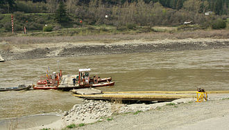 Reaction ferry - The Lytton Ferry across the Fraser River in British Columbia, Canada, is a reaction ferry using an overhead cable and traveller, visible in the upper right corner.