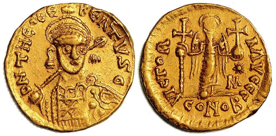 Münze Gold Solidus Theudebert I um 534