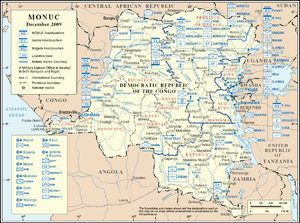 A map of the Democratic Republic of the Congo marked with military map symbols showing type, nationality and location of MONUC units.