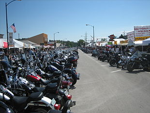 Bikes lined up on Main Street during Bike Week.