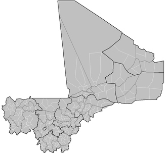 Arrondissements of Mali - Arrondissements of Mali (outlined in white), with Cercles in grey and Regions in black.