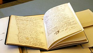 Pan Tadeusz - The manuscript of Pan Tadeusz held at Ossolineum in Wrocław. Signature of Adam Mickiewicz is visible.