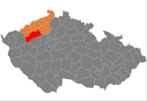 Vị trí huyện Louny trong vùng Ústí nad Labem trong Cộng hòa Séc