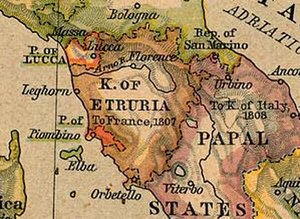 Principality of Lucca and Piombino - Image: Map Kingdom of Etruria