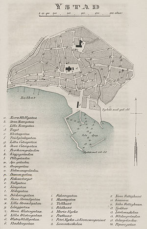 Ystad - Street plan of Ystad in c.1850.