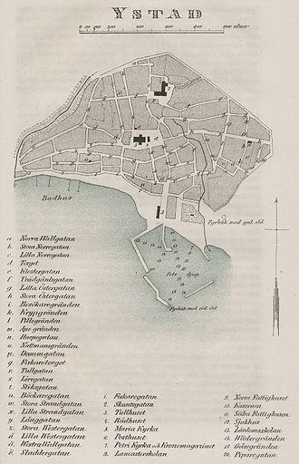 Ystad - Street plan of Ystad in c.1850.