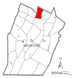 Bloomfield Township, Bedford County, Pennsylvania - Image: Map of Bloomfield Township, Bedford County, Pennsylvania Highlighted