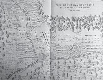 Fort Wayne, Indiana - An illustrated map of Kekionga (1790).