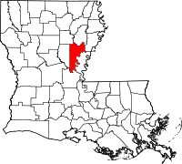 Map of Louisiana highlighting Catahoula Parish