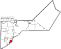 Map of Lucas County Ohio Highlighting Waterville City.png