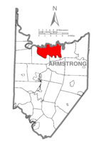 Map of Armstrong County, Pennsylvania highlighting Madison Township