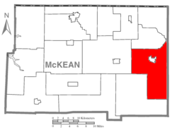 Map of McKean County, Pennsylvania highlighting Liberty Township