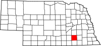 Map of Nebraska highlighting Fillmore County